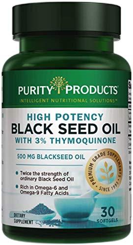 Aceite de Semilla Negra de Alta Potencia | Purity Products |Doble Concentración + Prensado en Frío | Omega 6 + 9 Ácidos Grasos Esenciales | Fácil de Tragar, solo 1 por día | 500 mg de Aceite de Semilla de Comino Negro | 30 Mini Cápsulas Blandas