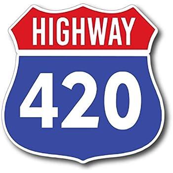 "Pride Sticker StickerJOE Highway 420 Weed Cannabis Marijuana Pot Sticker Decal 4"" x 5"""