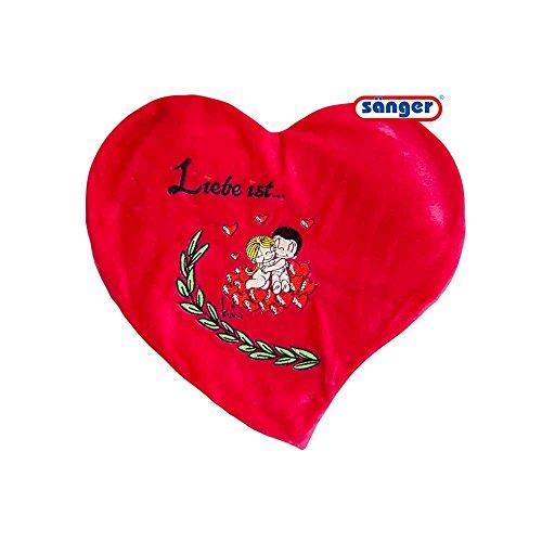 Valentinstag Herz-Wärmflasche, Herz-Wärmekissen, roter Plüschbezug