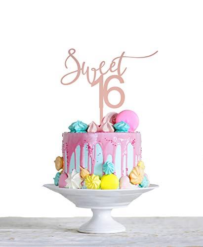 Sweet 16 Acryl Taart Topper - 16e Verjaardag Taart Topper - Aangepaste Leeftijd Taart Topper - Zoete Zestien Party Decor - Goud, Roségoud, Zilver