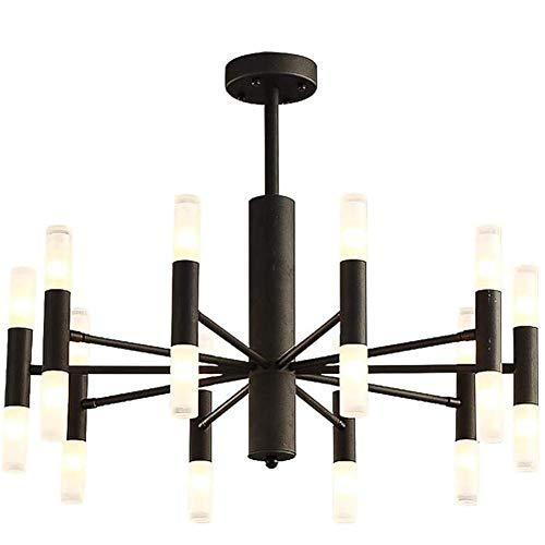 HTL Lámpara de Araña de Sputnik Nordic, de 20 Luces Starburst Light, Comedor Creativo Sala de Estar Iluminación Luz de Techo/Lámpara Lámpara, Lámpara de Techo de Ramas de Mediados de Siglo,Negro