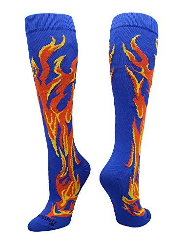 MadSportsStuff Flame Socks Athletic Over The Calf Socks (Royal/Orange/Gold, Small)