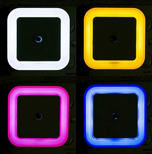 Control de sensor de luz Luz nocturna,Mini UE EE. UU. Enchufe Novedad Lámpara de dormitorio cuadrada para luces coloridas románticas