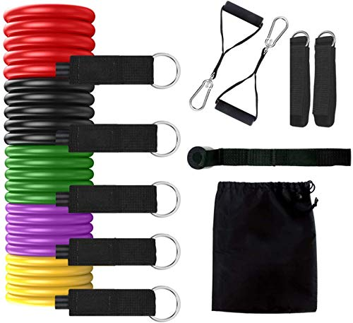 Price comparison product image Resistance Bands Set,  Exercise Bands with Door Anchor,  Handles,  Waterproof Carry Bag,  Legs Ankle Straps for Resistance Training,  Physical Therapy,  Home Workouts