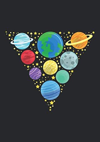 Notizbuch A5 dotted, gepunktet, punktiert mit Softcover Design: Planeten des Sonnensystems im Dreieck angeordnet Astronomen: 120 dotted (Punktgitter) DIN A5 Seiten