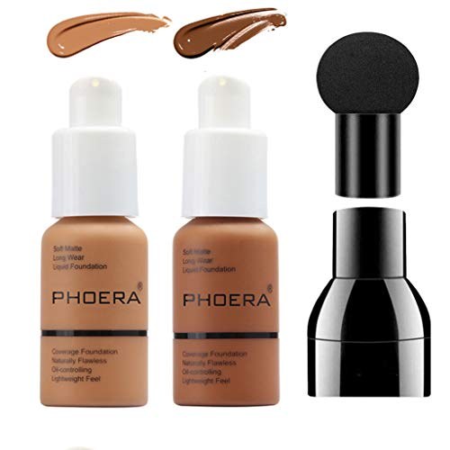 PHOERA Foundation Makeup Set, Firstfly Matte Oil Control Concealer Foundation Cream, Long Lasting Waterproof Matte Liquid Foundation with Mushroon Head(108&109)
