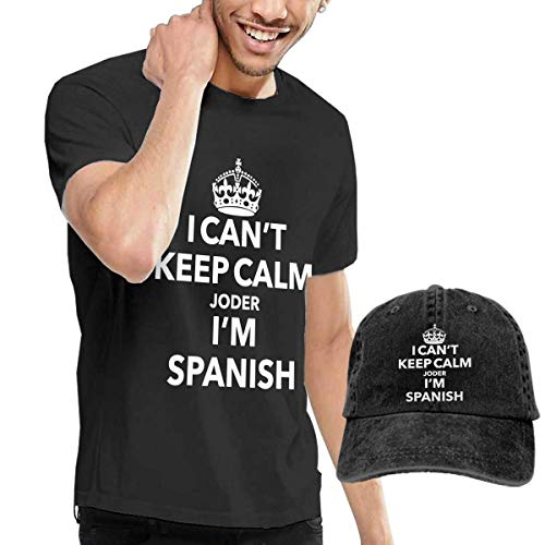 AYYUCY Camisetas y Tops Hombre Polos y Camisas, I Can't Keep Calm Joder I'm Spanish Fashion Men's T-Shirt and Hats Youth & Adult T-Shirts