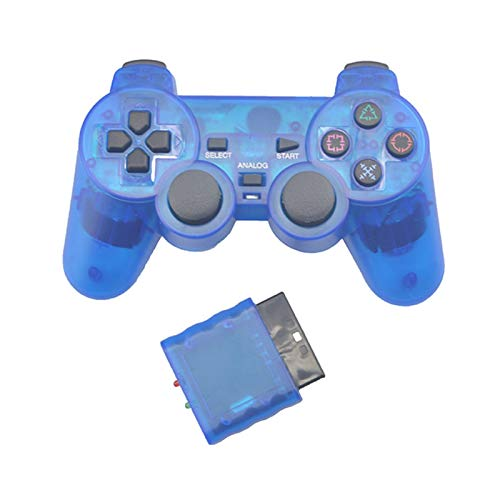 black Rose Wangweiming Transparent Color Game Controller Fit for Sony PS2 Wireless Gamepad 2.4GHz Vibration Controle Gamepad Fit for Playstation 2 WWM (Color : Blue)