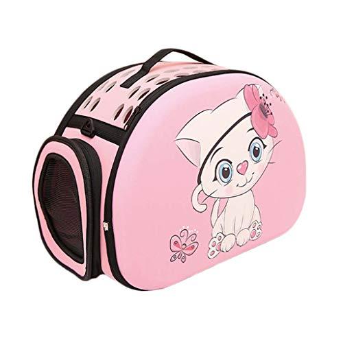 Wwjpet Mascota Plegable portátil Mochila Hombro Bolsa para Mascotas Gato Bolsa de excursión Material de EVA Tote de Dibujos Animados Portador del Perro para Caminar Camping Viajes,Pink