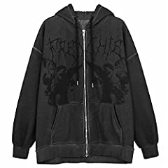 Material: Women's Halloween hoodies oversized made of high quality cotton + polyester. Super soft and warm fabric, skin-friendly and comfortable to wear. Design: Vintage oversized sweatshirt, long sleeve, retro graphic printed, zipper up hoodie jacke...