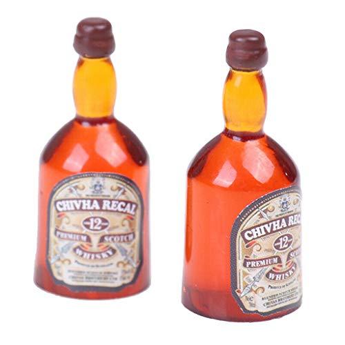 freneci 2 Piezas 1:12 Casa de Muñecas Miniatura Botella de Vino de Whisky Accesorios de Bricolaje Juguetes Modelo