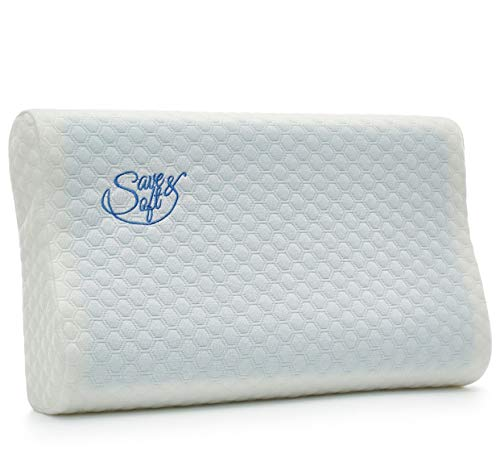 Orthopedic Memory Foam Pillow - Comfortable Hypoallergenic Pillow - Ergonomic Cervical Pillow with Optimum Neck Support Pain Relief for Women Toddler - Soft Removable Washable Cover (1, Gel Cervical)