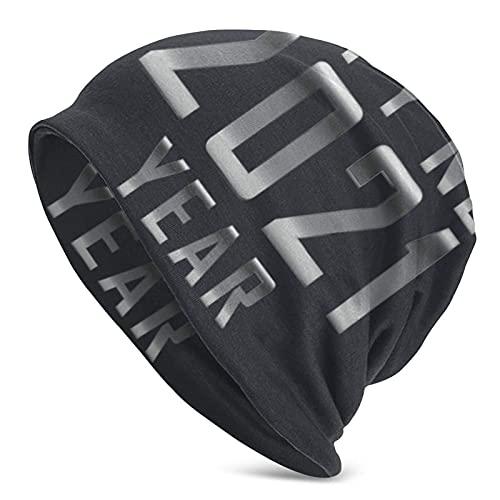 IUBBKI Feliz Año Nuevo 2021 Plata Mantener Caliente en Otoño e Invierno Adulto Knit Hat