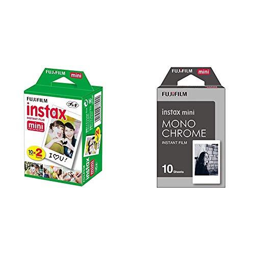 FujiFilm Instax Mini Film (40Shots) Multi Pack & instax Monochrome Mini Film, 10 Shot Pack
