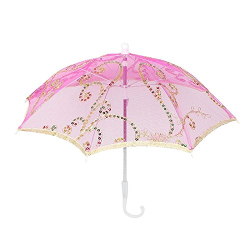 sourcing map Wedding Fuchsia Embroider Floral Pattern Folding Mini Lace Umbrella