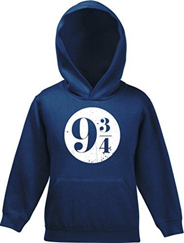 ShirtStreet Fanartikel Fan Kult Film Kinder Hoodie Kapuzenpullover Mädchen Jungen Kreis Harry 9 3/4, Größe: 140,Navy