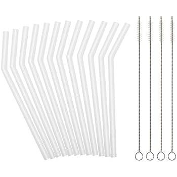 ♻ Pajitas de cristal reutilizables con bolsa de algod/ón y cepillo para c/óctel 15 cm Pajitas de cristal GLASRAW/®