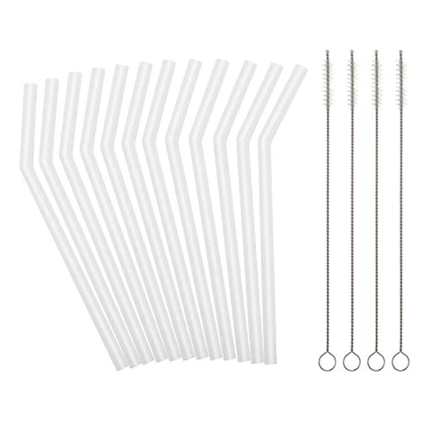 Reusable Clear Silicone Straws for Toddlers & Kids - 12 pcs Flexible Short Drink 6.7