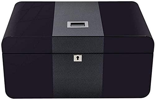 QULONG Caja de Cigarrillos Humidor Superficie de Cuero para cigarros Caja Forrada de Cedro de Escritorio con higrómetro y humidificador Caja Decorativa