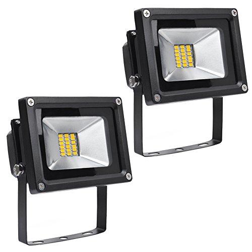 Greenmigo 2x 20W SMD Fluter Strahler Warmweiß Schwarz Aluminium Gehäuse IP65 Wasserdicht LED Lampe Wandleuchter Flulicht Flutbeleuchtung LED Gartenlampe Außenstahler