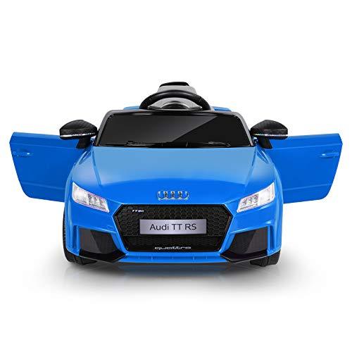 Metakoo Macchina Elettrica per Bambini, Audi TT RS Auto Elettrica 12V con Telecomando 2.4GHz, LED e Clacson. Max.5Km/h 2X Motori 25W, Lettore MP3, AUX, USB, Cintura di Sicurezza, Fino a 30Kg-Blu
