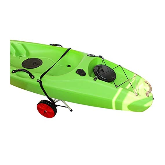 """Onefeng Sports 175LBS Kayak Cart Boat Carrier with Adjustable Width Axle for Carring Kayaks Canoes Spring Button Design… 7 ☀【ADJUSTABLE POLES】The distance between 2 poles is adjustable from 24-40cm(9.4""""-15.7""""). ☀【NEW TIRES】Plastic tires with rubber sheaths,won't slip.Tires are environment-friendly,odourless smelless.Size:25×7cm(9.8""""×2.7"""") ☀【PADDED DESIGN & MATERIAL】Black cover to protect your kayak or canoe.Made of Stainless Steel.Capacity:175 lbs.as been inserted into the trolley tube so don't worry to loss.We have fixed the strap(10ft) on the rubber cones,easy to fasten the kayak."""