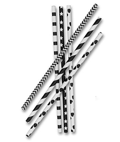 Aribari 200 cannucce di carta riciclabili in 6 diversi motivi, 18,5 cm di lunghezza
