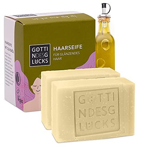 Göttin des Glücks Haarseife stumpfes Haar – Olive 2 x 80 gr festes Shampoo – für glänzendes Haar – vegane Naturkosmetik – Fairtrade Haar Seife Zero Waste