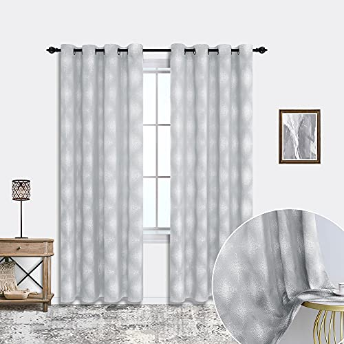 Grey Pattern Curtains for Living Room 2 Panels Set Sheer Semi Blackout Ombre Embroidered Design Moroccan Trellis Quatrefoil Geometric Grunge Abstract Gray Patterned Curtains for Bedroom 95 Inches Long