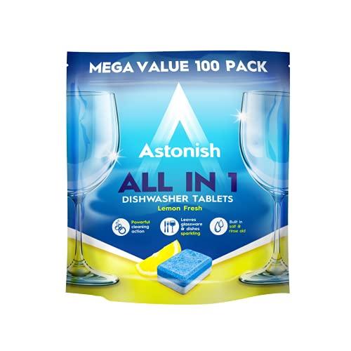 Astonish Todas en 1 potentes tabletas de limpieza para lavavajillas con sal y enjuague, Mega Pack de 100 tabletas, limón fresco