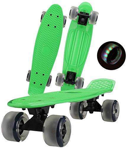 Mini-Skateboard, Anfänger-Skateboard, Flash-Rad-Skateboard, Kinder-Leuchtrad für Erwachsene, kleines Fischbrett, 22-Zoll-rutschfestes Mattes Rad