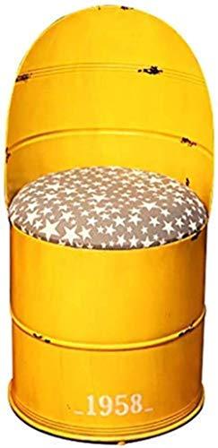 Stuhl Bürostuhl Bar Restaurant Stuhl Stab-Stuhl Schmiedeeisen Ölfass Hocker, Farbe Bench Restaurant Tin Bucket Kaffeemaschine Sessel Lagerung Hocker 44cm Geeignet for 80 cm Theke ( Color : Yellow )