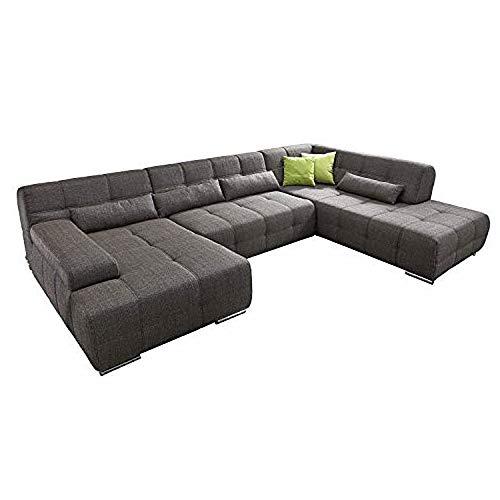 Cavadore Wohnlandschaft Boogies mit Longchair links/Sofa U-Form mit moderner Steppung in Sitz & Rückenlehne/Rückenecht/Inklusive Kissen/Größe: 344x76x231 (BxHxT)/Bezug in Strukturstoff schwarz/braun