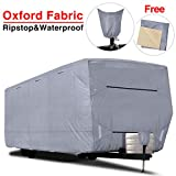 RVMasking Upgraded 100% Waterproof Oxford Travel Trailer RV Cover, Fits 28'7' - 31'6' RVs - Easy Installaiton Anti-UV Ripstop Camper Cover with Tongue Jack Cover & Adhesive Repair Patch