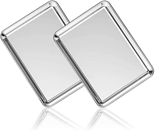 Juego de 2 bandejas de horno AIKKIL de acero inoxidable profesional, no tóxico y saludable, espejo liso e inoxidable, fácil de limpiar y apto para lavavajillas (50 cm)