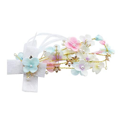 Bbl345dLlo Couronne de Mariée Serre-tête de Mariée pour Mariage Chapeaux de Mariée Élégant Dentelle Tissu Fleur Faux Perle Épingle à cheveux Clip – Doré
