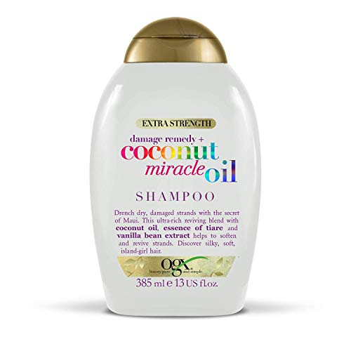 OGX Extra Strength Damage Remedy + Coconut Miracle Oil Shampoo for Dry, Frizzy or Coarse Hair, Hydrating & Flyaway Taming Shampoo, Paraben-Free, Sulfate-Free Surfactants, 385 ml