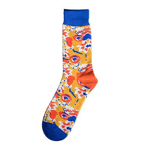 Mannen sokken carikatuur-bloemen-strepen bonte gelukkige plezierige skateboarding persoonlijkheid hip hop-straatstijl katoenen sokken