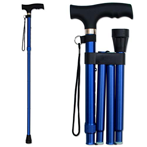 RMS Folding Cane - Foldable, Adjustable, Lightweight Aluminum Offset Walking Cane - Collapsible Walking Stick with Ergonomic Derby Handle - Ideal Daily Living Aid for Limited Mobility (Blue)