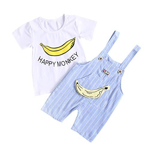 Berimaterry Conjuntos Bebé NiñO,onjuntos para bebé niños Unisex Ropa para recién Nacidos Verano Camisetas + Tirantes de Pantalones Corta para bebés niño Impresion Dinosaurs de1-5 años