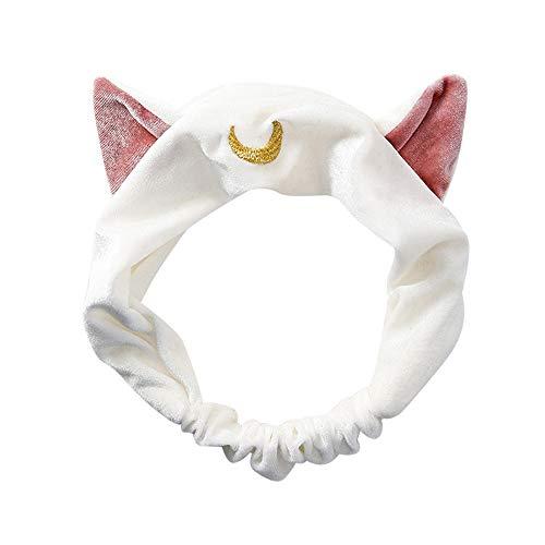 Dorical Haarband,süß Stirnband, 1Pcs Haarband Stirnband Haarbänder Mond Haarschmuck Haarreifen mit Katze-Ohr für Gesichtswäsche Make up My Beauty Tool Lovely Etti Hair Band(Weiß)