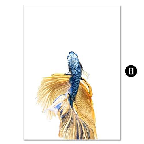 Geiqianjiumai Goud karper realistische dier moderne schilderij minimalistische nordic poster woonkamer kunst wanddecoratie schilderij frameloze schilderij