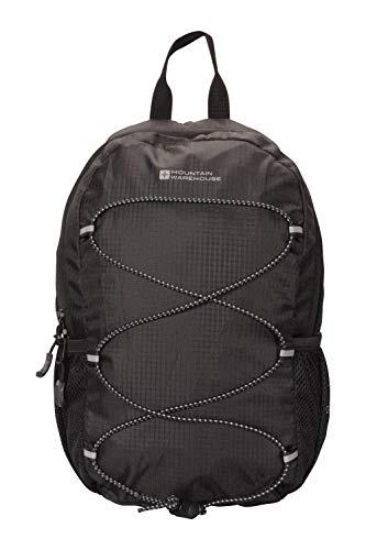 Mountain Warehouse Trek 8-l-Rucksack - gepolsterter Airmesh-Rücken, klein, leicht, stylish, mit Wasserflaschenhalter - Für Reisen, Picknicks, Wanderungen, Frühling Schwarz Einheitsgröße