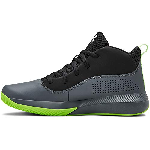 Under Armour Kids' Pre School Lockdown 4 Basketball Shoe, Pitch Gray (100)/Black, 6.5