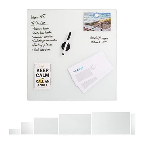 Relaxdays Pizarra magnética, 50 x 50 cm, 3 imanes, rotuladores, Soporte para bolígrafos, Oficina y Cocina, Cristal de Seguridad, Color Blanco