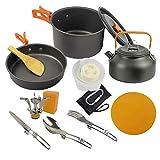 Tuimiyisou Artículos para cocinar Acampar Copas del Kit lío Placas Forks Cuchillos cucharas para Acampar, con Mochila, cocinar al Aire Libre y Picnic Naranja