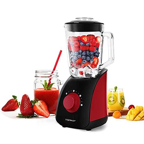 Aigostar Pomegranate 30JDF - 750W Frullatore per frullati, frullatore tritatutto multifunzione con vaso in vetro da 1,5 L, 2 velocità e 4 lame in acciaio inox, Pulse, nero e rosso, BPA Free.