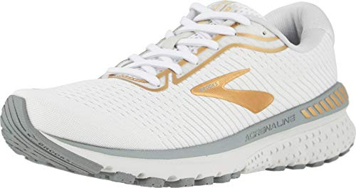 Brooks Womens Adrenaline GTS 20 Running Shoe - White/Grey/Gold - B - 8.5