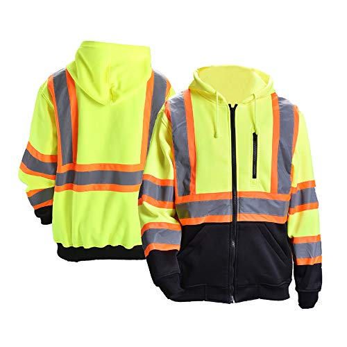 FONIRRA Hi-Viz Safety Full-Zip Hoodie Sweatshirt with Black Bottom,High Visibility ANSI Class 3 Fleece Hooded Jumper Workwear for Men(Yellow,M)