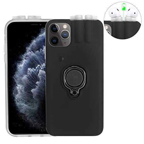 MoModer 2 in 1 Phone Case for iPhone 11/iPhone11 Pro/iPhone11 Pro Max and for AirPods 1 2, Multifunction Phone Case with Ring Stand, Charging Case Holder for Protect Phone, Charge & Store AirPods